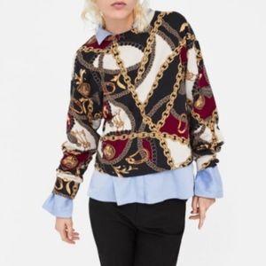 ZARA Chain Print Sweatshirt S